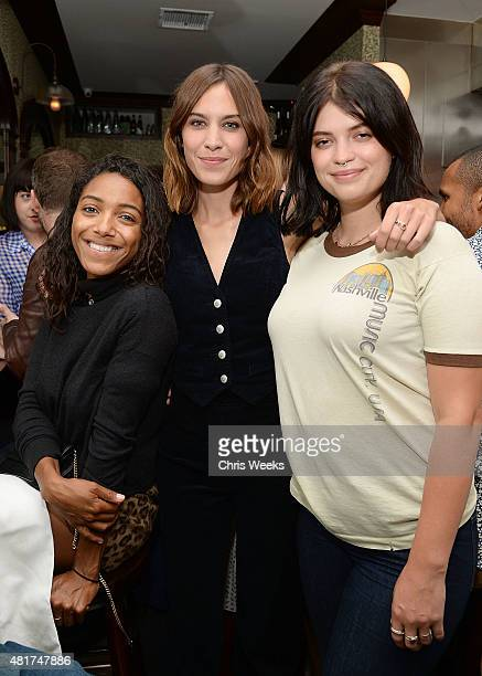 English music recording artist Remy Nicole Alexa Chung and Pixie Geldof attend a dinner celebrating the launch of Alexa Chung X AG PA at Petit Trois...