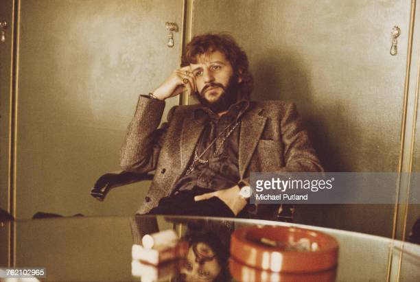 English musician, actor and former Beatles drummer, Ringo Starr pictured sitting in an office in London on 22nd October 1973.
