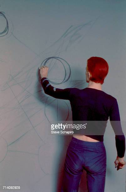 English musician and actor David Bowie making charcoal drawings of the Tree of Life symbol from the Kabbalah Los Angeles California 1974 The image...