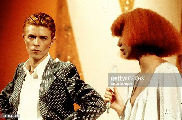 English musician and actor David Bowie performs a duet with Cher on the latter's 'Cher' television show Los Angeles California November 23 1975