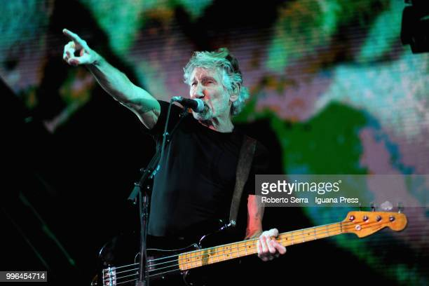English musician and author Roger Waters performs on stage a concert of his tour 'Us Them' during Lucca Summer Festival at Prato delle Mura on July...