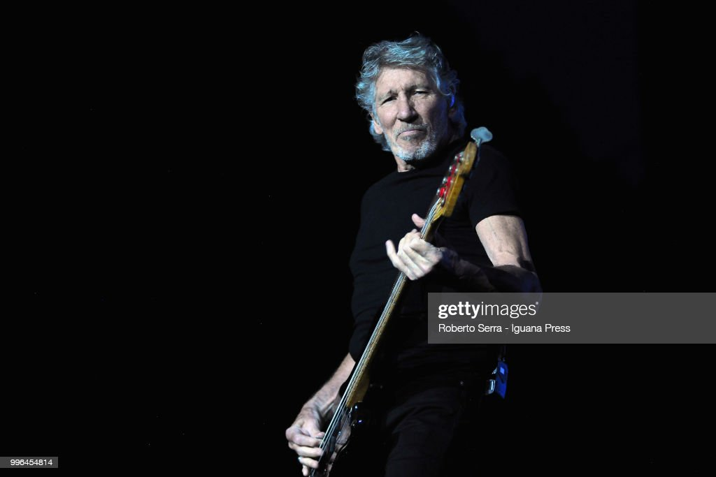 English musician and author Roger Waters performs on stage a concert of his tour 'Us + Them' during Lucca Summer Festival at Prato delle Mura on July 11, 2018 in Lucca, Italy.