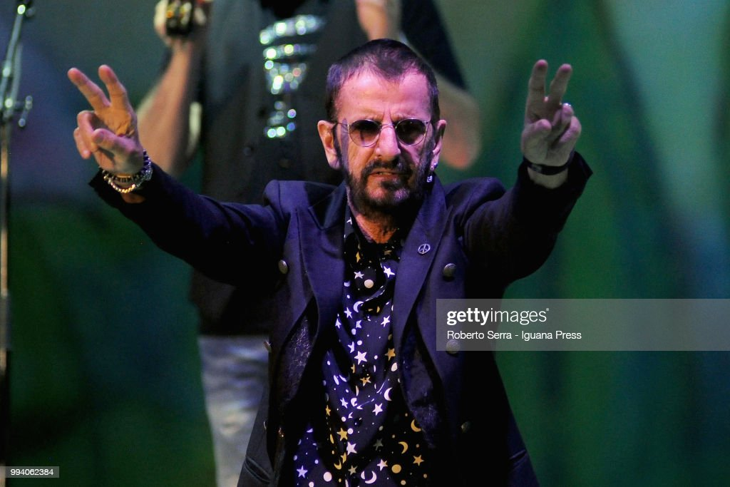 English musician and author Sir Richard Starkey (the ex Beatles Ringo Starr) performs on stage with his All Stars during Lucca Summer Festival at Piazza Napoleone on July 8, 2018 in Lucca, Italy.