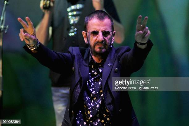 English musician and author Sir Richard Starkey performs on stage with his All Stars during Lucca Summer Festival at Piazza Napoleone on July 8 2018...
