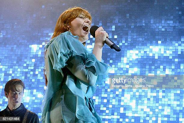 English musician and authoress Florence Welch leads the Florence The Machine in concert at Unipol Arena on April 13 2016 in Bologna Italy