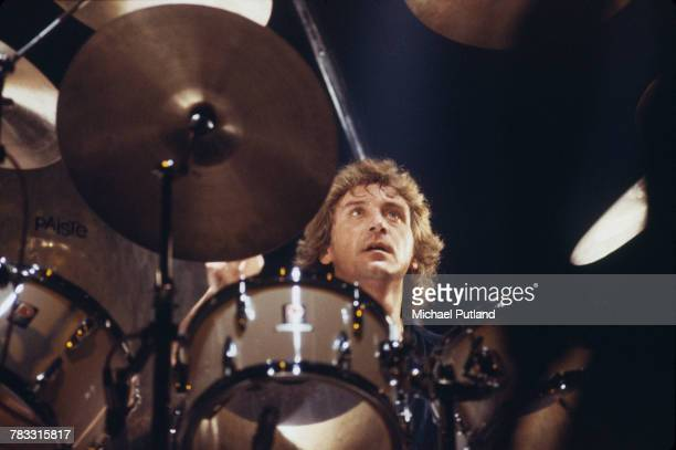 English musician and drummer Kenney Jones performs live on stage with rock group The Who during their farewell tour of the United States and Canada...