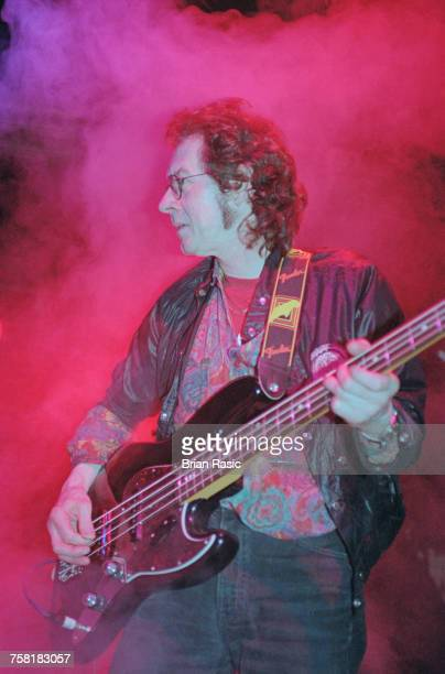 English musician and former Jimi Hendrix Experience bass player Noel Redding performs live on stage at the Tribute to Brian Jones concert at the...