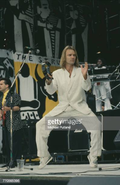 English musician and former lead singer with The Police Sting performs live on stage during the Nelson Mandela 70th Birthday Tribute concert at...