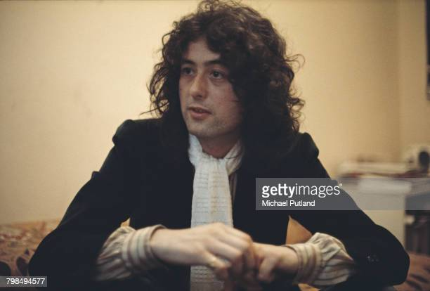 English musician and guitarist Jimmy Page of rock group Led Zeppelin pictured being interviewed on 18th March 1976
