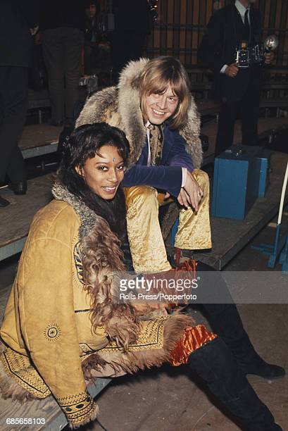 English musician and guitarist with Rolling Stones Brian Jones pictured with American model and actress Donyale Luna during rehearsals for the...
