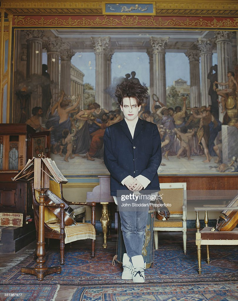 English musician and lead singer/songwriter of rock band The Cure, Robert Smith, circa 1995.