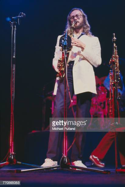 English musician and saxophonist John Helliwell performs live on stage with Supertramp on tour in the United States in June 1979