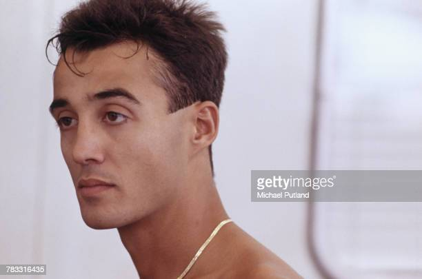 English musician and singer Andrew Ridgeley of Wham pictured backstage prior to performing at the pop duo's farewell concert entitled 'The Final' at...