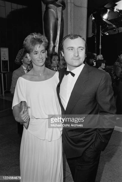 English musician and singer Phil Collins with his wife Jill at the 57th Academy Awards at the Dorothy Chandler Pavilion in Los Angeles, 25th March...