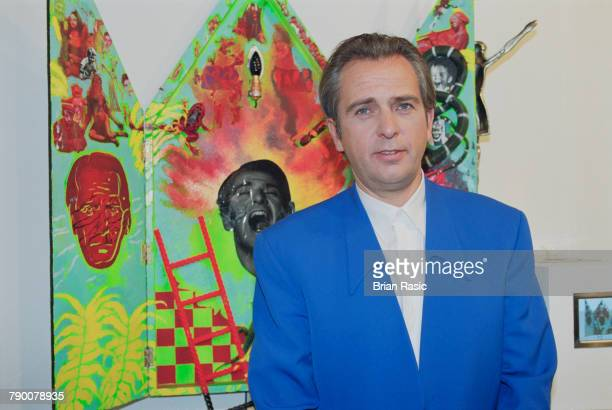 English musician and singersongwriter Peter Gabriel pictured attending an art exhibition opening at a gallery in London circa 1993