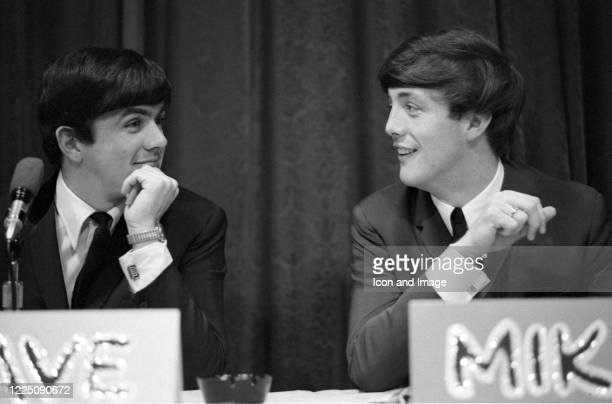English musician and songwriter Dave Clark and English singer and songwriter Mike Smith both members of the Dave Clark Five take questions from...