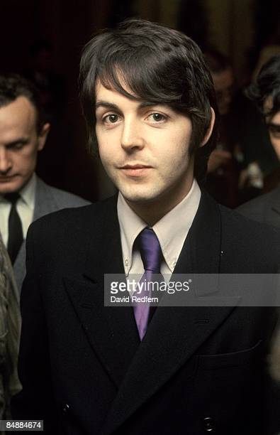 English musician and songwriter Paul McCartney of The Beatles attends a press conference to promote Leicester University's arts festival at the Royal...