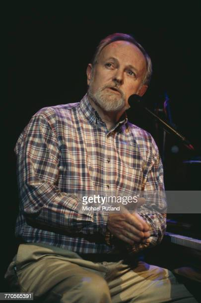 English musician and songwriter Richard Stilgoe performs live on stage at the piano at a charity gala at the Royal Festival Hall in London on 1st...