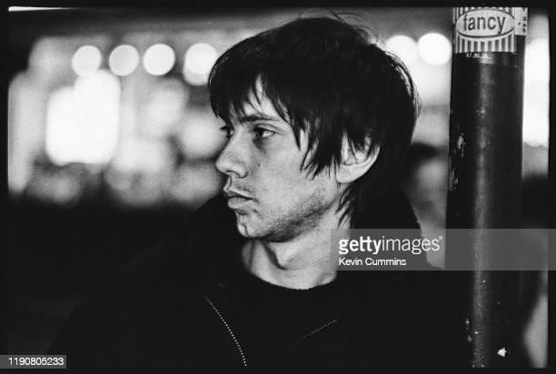 English musician Chris Acland of alternative rock band Lush, London, UK, March 1996.