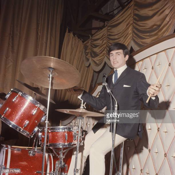 English musician Dave Clark of British beat group The Dave Clark Five in concert circa 1965
