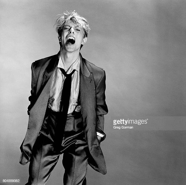 English musician David Bowie is photographed in 1983 in Los Angeles California