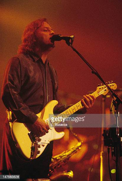 English musician David Gilmour of the group Pink Floyd performs in concert New York New York circa 1984
