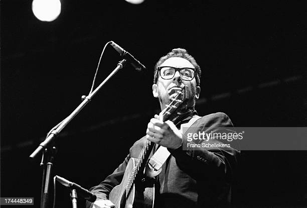 English musician Elvis Costello performs live on stage at Pinkpop in Landgraaf, the Netherlands on 14th May 1989.