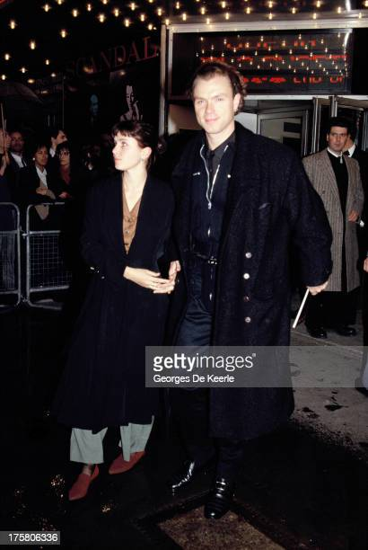 English musician Gary Kemp of Spandau Ballet and his wife Sadie Frost attend the premier of 'Scandal' at the Odeon cinema on March 3 1989 in London...