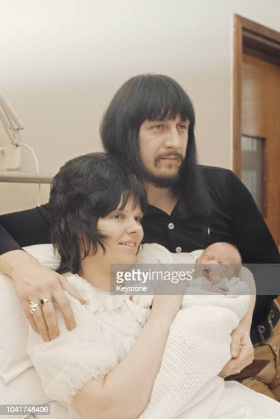 English musician John Entwistle , bass guitarist of rock band The Who, with his wife Alison and baby son Christopher at Queen Charlotte's Hospital in...