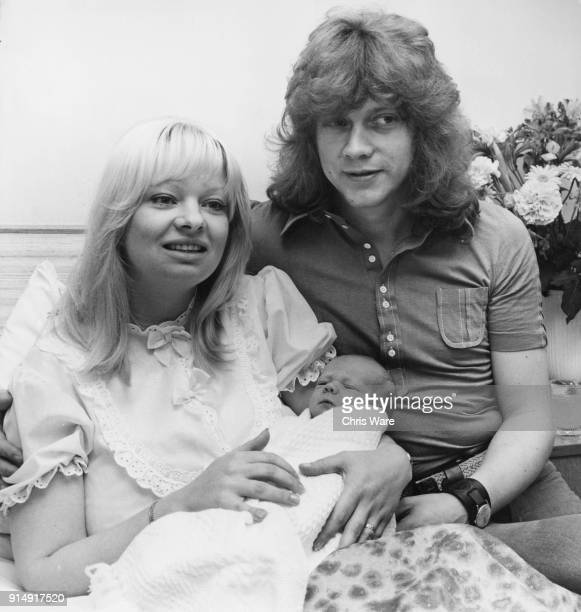 English musician John Lodge bass guitarist of the Moody Blues with his wife Kirsten and their new baby son Kristian John at the Mount Alvernia...