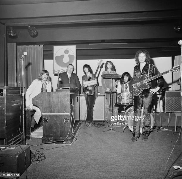 English musician Jon Lord of English rock band Deep Purple with composer Malcolm Arnold UK 11th September 1969 Arnold conducted the Royal...