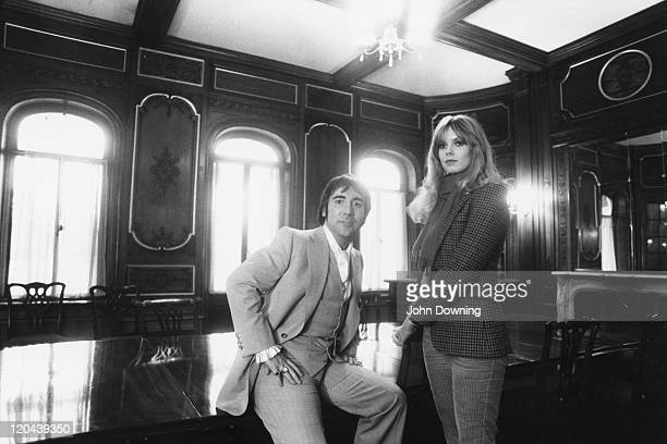 English musician Keith Moon the drummer of rock group The Who with his girlfriend Swedish fashion model Annette WalterLax circa 1975