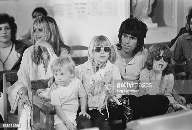 English musician Keith Richards with his partner Anita Pallenberg and children at the wedding of Mick Jagger and Nicaraguan-born Bianca De Macias in...