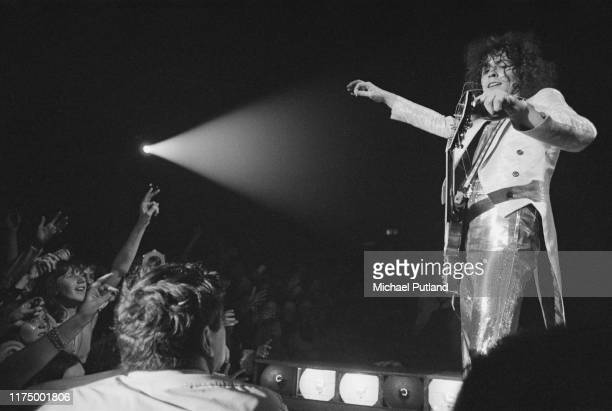 English musician Marc Bolan performs live on stage with English glam rock group T Rex at the Sundown, Edmonton, London on 22nd December 1972.