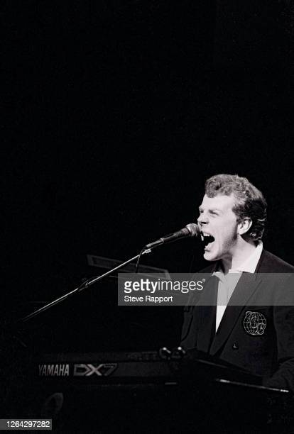 English musician Mick Talbot, of the group the Style Council, Red Wedge Tour, Hammersmith Odeon, London, 3/21/1986. During the latter half of the...
