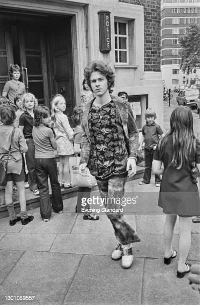 English musician Mick Taylor of The Rolling Stones outside Chelsea Police Station following a police raid on band member Keith Richards' home in...