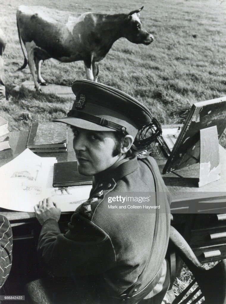 English musician Paul McCartney of The Beatles wearing a military uniform during filming for surreal comedy television film 'Magical Mystery Tour' at West Malling Air Station in Maidstone, Kent, United Kingdom, September 1967.