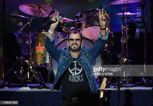 English musician Ringo Starr performs onstage at the 50th anniversary celebration of Woodstock at Bethel Woods Center for the Arts on August 15, 2019...