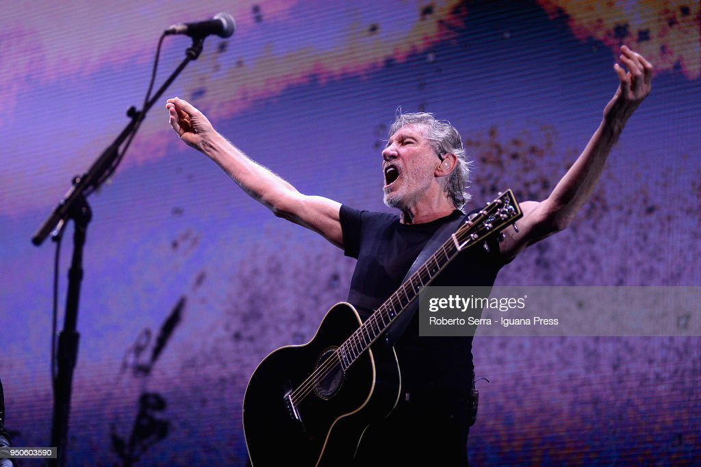 English musician Roger Waters ex leader of the Pink Floyd rock 'n' roll band performs on stage at Unipol Arena on April 21, 2018 in Bologna, Italy.