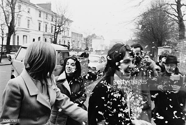 English musician singer and songwriter Paul McCartney marries American musician and photographer Linda Eastman at Marylebone Registery Office London...