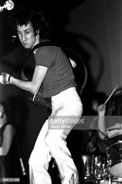 English musician singer and songwriter Pete Townsend of The Who plays his guitar during the 'Tommy' Premiere on June 19 1969 at the Fillmore West in...