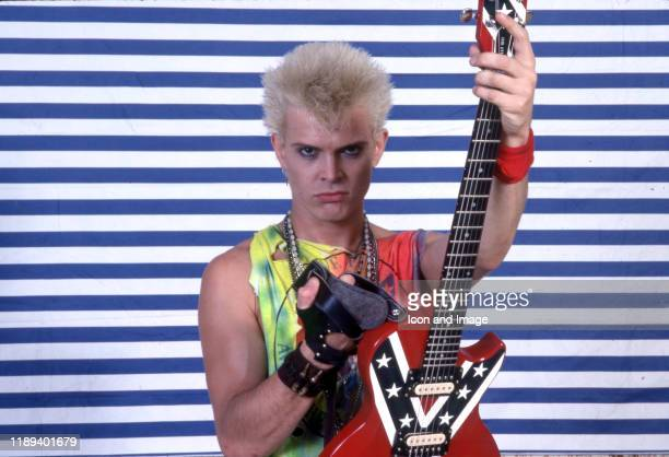 English musician, singer, songwriter, and actor, Billy Idol, poses backstage on May 23 at the Pine Knob Music Theater in Clarkston, Michigan.