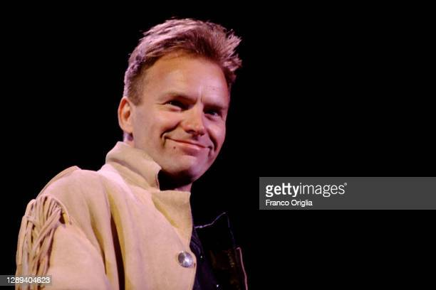 English musician, singer, songwriter, and actor Sting performs during a concert at the Flaminio Stadium on May 27 1991 in Rome, Italy.
