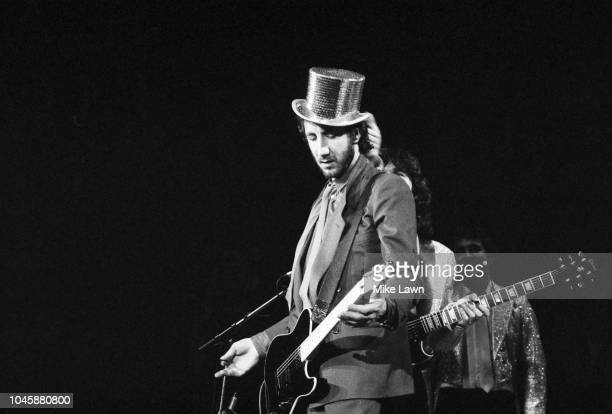 English musician, singer, songwriter, and multi-instrumentalist Pete Townshend of The Who performing with the Rockestra supergroup at one of the...