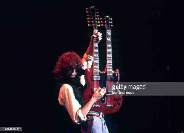 English musician songwriter and lead guitarist for Led Zeppelin Jimmy Page performs at Ronnie Lane's ARMS benefit concert on December 1 at the Cow...