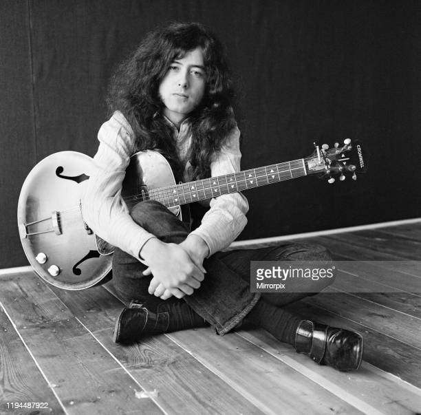 English musician songwriter and record producer Jimmy Page who achieved international success as the guitarist and founder of the rock band Led...