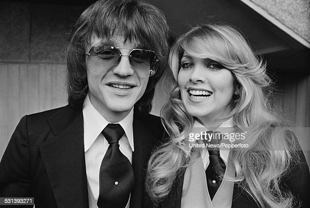 English musicians and songwriters Mike Moran and Lynsey de Paul pictured together to promote their Eurovision Song Contest entry 'Rock Bottom' in...
