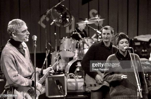 English musicians from left Paul Weller Billy Bragg and Dee C Lee Red Wedge Tour soundcheck Manchester Apollo Manchester 1/25/1986 During the latter...