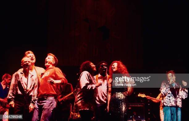 English musicians from rear left Paul Weller Jimmy Somerville Chas Smith Billy Bragg Juliet Roberts Junior Giscombe Sarah Jane Morris and Lorna Gee...
