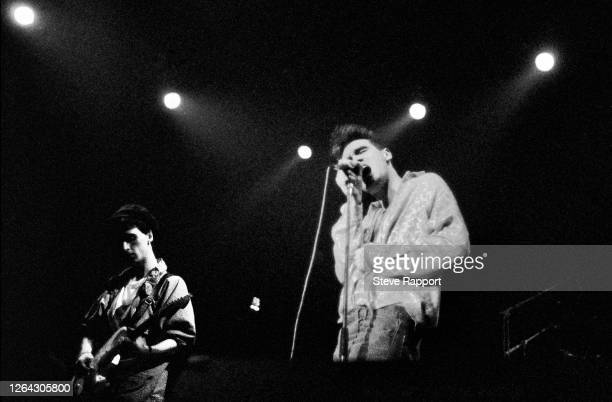 English musicians Johnny Marr and Morrissey both of the group the Smiths Red Wedge Tour Newcastle City Hall Newcastle 1/31/1986 During the latter...